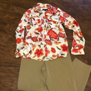 Vibrant floral Jones New Your blouse